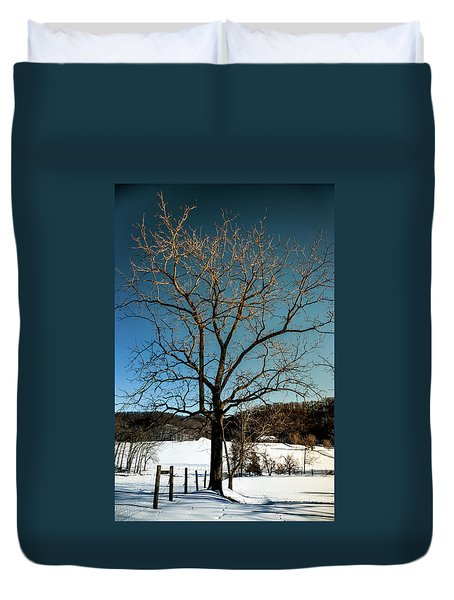 Duvet Cover featuring the photograph Winter Glow by Karen Wiles