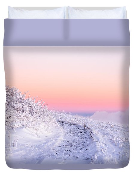 Winter Glow On Roan Mountain Duvet Cover by Serge Skiba