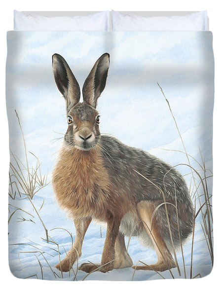 Winter Hare Duvet Cover by Clive Meredith
