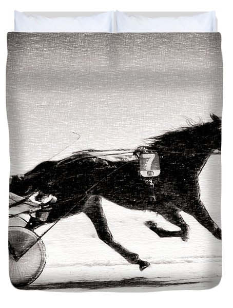Winter Harness Racing Duvet Cover