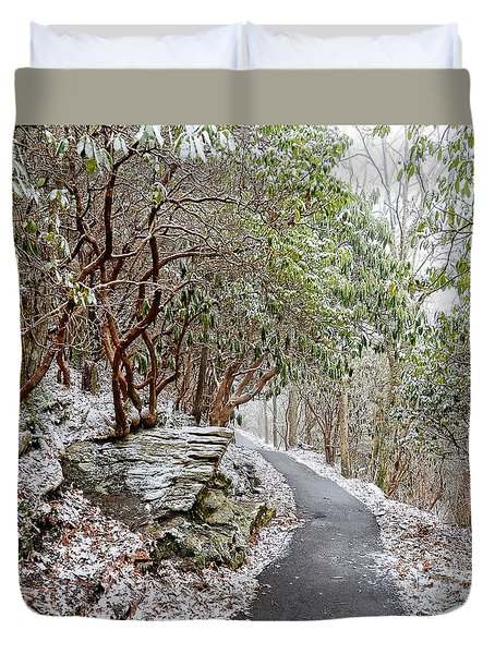 Winter Hiking Trail Duvet Cover