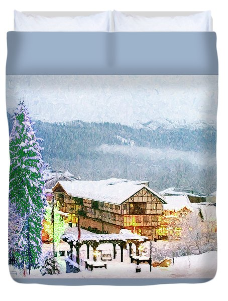 Winter Holiday In The Village Duvet Cover