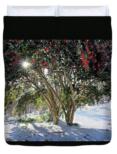 Duvet Cover featuring the photograph Winter Holly by Jessica Brawley