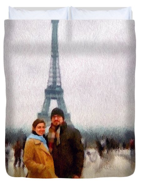 Winter Honeymoon In Paris Duvet Cover by Jeff Kolker