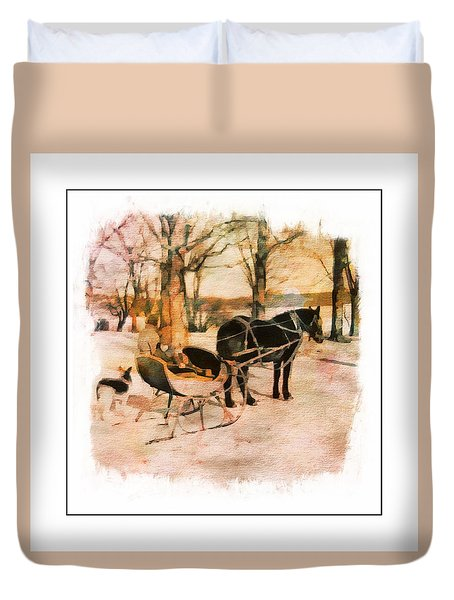 Winter Horse Sled Duvet Cover
