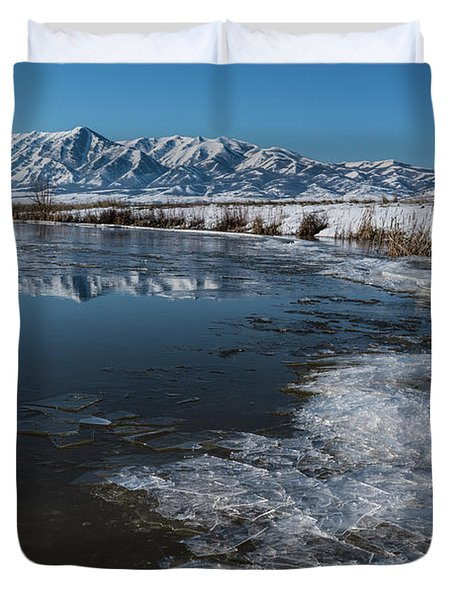 Winter Ice Flows Duvet Cover by Justin Johnson