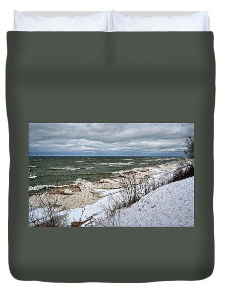 Winter Ice On Lake Michigan Ll Duvet Cover