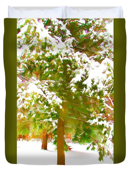 Winter In  Catskills Duvet Cover by Lanjee Chee