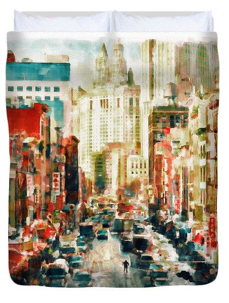 Winter In Chinatown - New York Duvet Cover