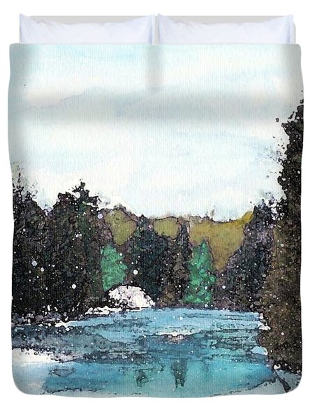 Duvet Cover featuring the mixed media Winter In Kalkaska by Desiree Paquette