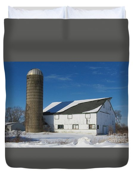 Duvet Cover featuring the photograph Winter  In Mchenry County by Kathie Chicoine