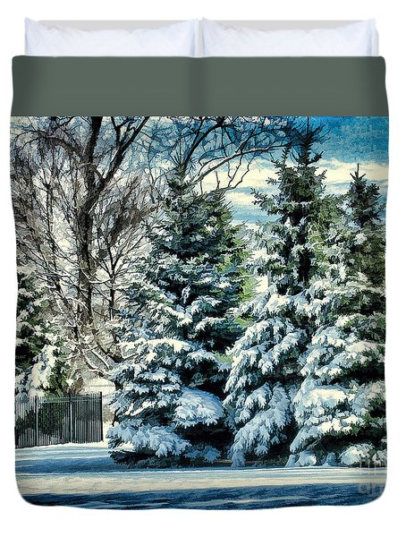 Winter In New England Duvet Cover