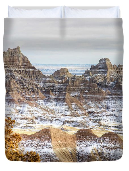 Duvet Cover featuring the photograph Winter In The Badlands by Bill Gabbert