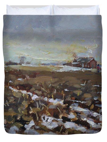 Winter In The Farm Duvet Cover