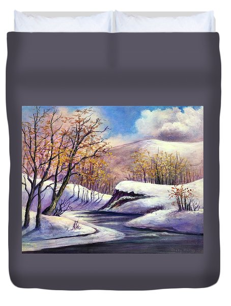 Duvet Cover featuring the painting Winter In The Garden Of Eden by Randol Burns