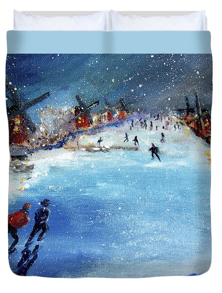 Winter In The Netherlands Duvet Cover