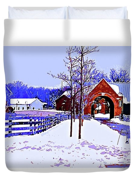 Winter In The Village Duvet Cover