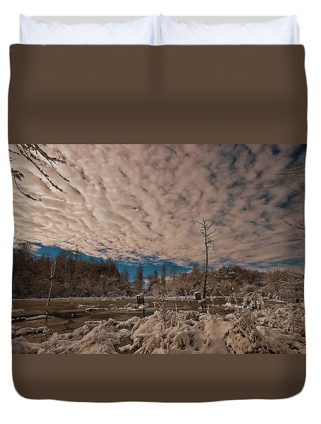 Winter In The Wetlands Duvet Cover