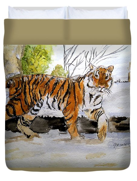 Winter In The Zoo Duvet Cover