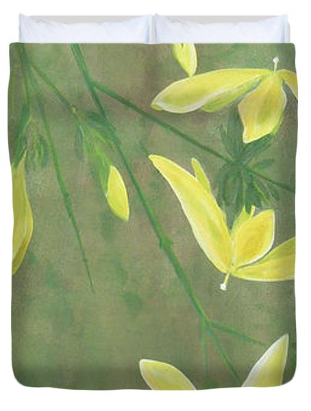 Duvet Cover featuring the painting Winter Jasmine by Barbara Moignard