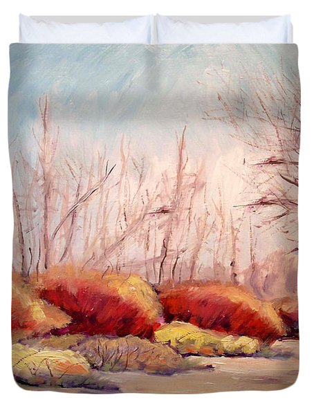 Winter Landscape Dry Creek Bed Duvet Cover