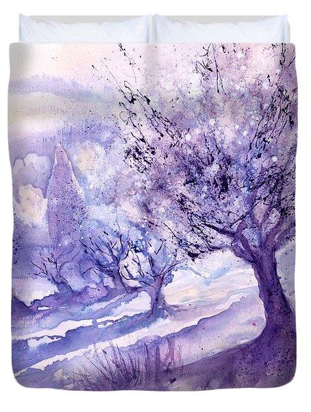 Winter Landscape Early Morning  Duvet Cover