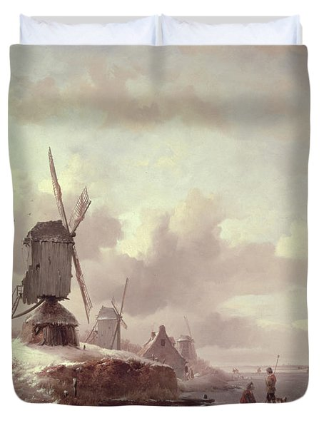 Winter Landscape Duvet Cover by Frederick Marianus Kruseman