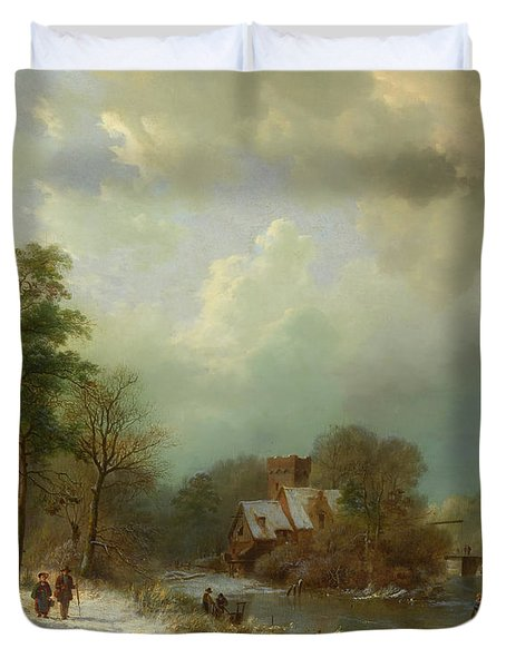 Duvet Cover featuring the painting Winter Landscape - Holland by Barend Koekkoek