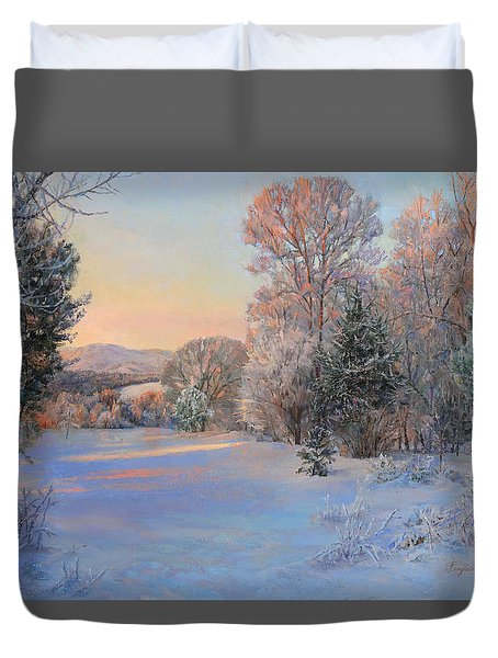 Winter Landscape In The Morning Duvet Cover