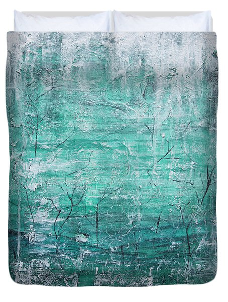 Duvet Cover featuring the painting Winter Landscape by Jocelyn Friis