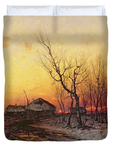 Winter Landscape Duvet Cover by Julius Sergius Klever
