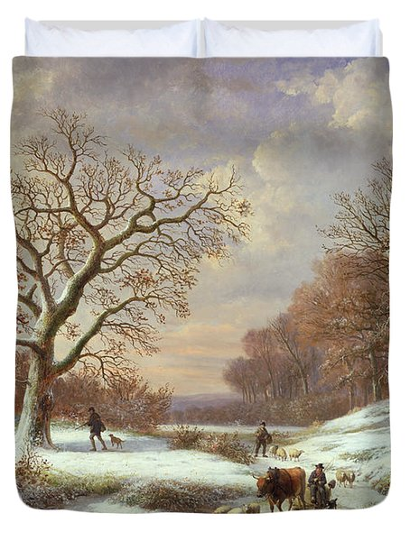 Winter Landscape Duvet Cover by Louis Verboeckhoven