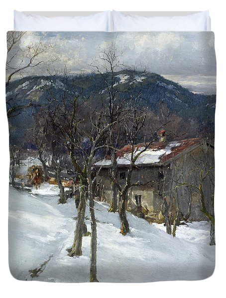 Winter Landscape Near Kutterling Duvet Cover by Johann Sperl