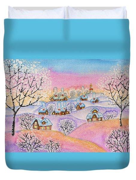 Winter Landscape, Painting Duvet Cover