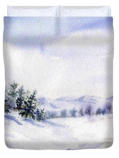 Winter Landscape Snow Scene Duvet Cover