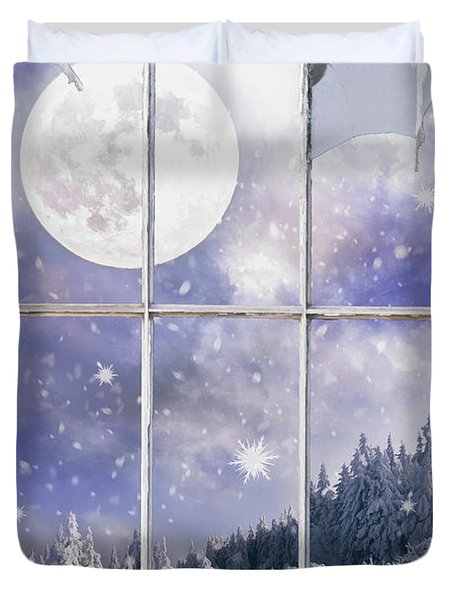 Winter Landscape Through The Window Duvet Cover