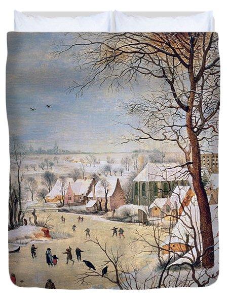 Winter Landscape With Birdtrap Duvet Cover by Pieter the elder Bruegel