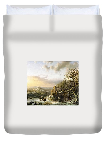 Winter Landscape With Peasants Gathering Wood Duvet Cover