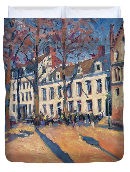 Winter Light At The Our Lady Square In Maastricht Duvet Cover