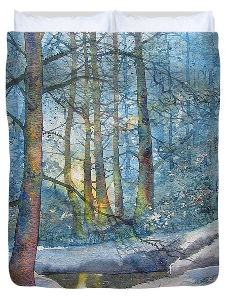 Winter Light In The Forest Duvet Cover