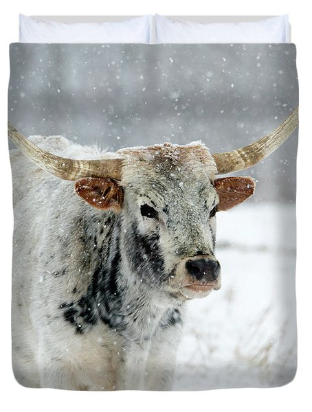 Winter Longhorn Duvet Cover