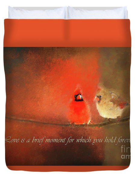 Duvet Cover featuring the photograph Winter Love2 by Darren Fisher