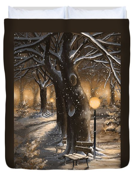 Duvet Cover featuring the painting Winter Magic by Veronica Minozzi