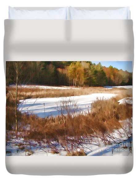 Winter Marsh Duvet Cover by Betsy Zimmerli