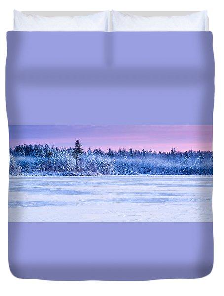 Winter Mist Baxter Lake New Hampshire Duvet Cover