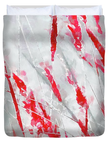 Winter Moods 1 - Cardinal Red And Icy Gray Nature Abstract Duvet Cover