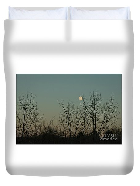 Duvet Cover featuring the photograph Winter Moon by Ana V Ramirez