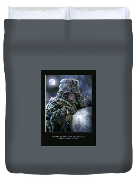 Winter Moon Pulls Strings Card Design Duvet Cover