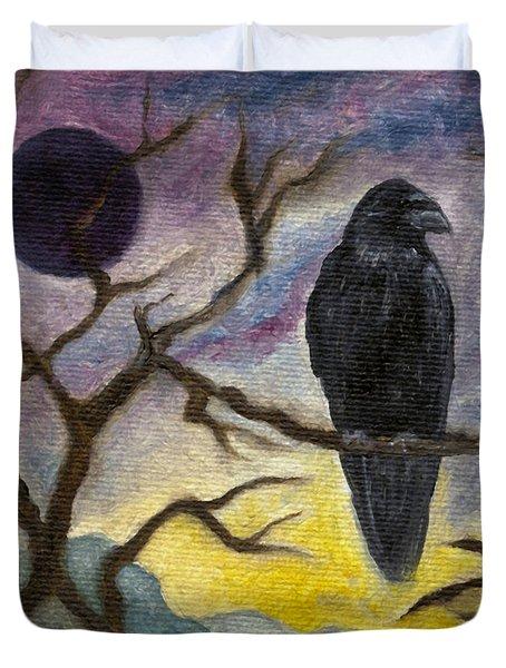 Winter Moon Raven Duvet Cover