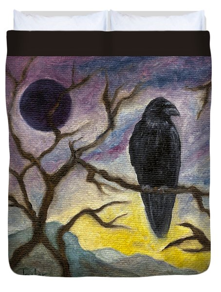 Winter Moon Raven Duvet Cover